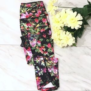 Pants - Workout Yoga Leggings Cropped Printed Floral XS S